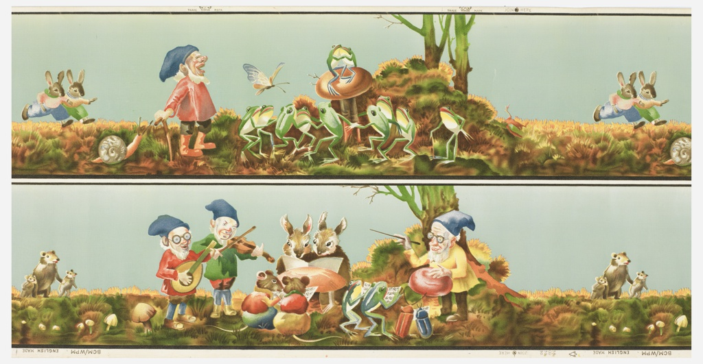 A children's frieze which contains scenes of gnomes with personified frogs, rabbits, mice and beetles, singing and dancing. Printed two across. The top and bottom scenes can be joined together to form a continuous scene. Printed in colors with a blue sky.