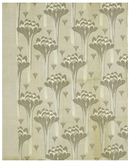 Art Nouveau-style pattern of tapering flower forms in pale brown and white on a natural color ground. Parts of the flowers and stems are overprinted with accents of opaque white. Small stylized floral forms in pale brown are repeated in the background.