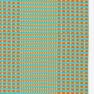 Length of printed cotton with a grid of fine vertical and horizontal lines in torquoise, orange, yellow and white, creating wide vertical stripes.