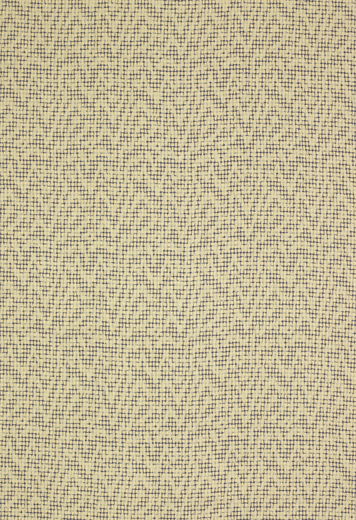 Length of woven fabric with an off-white ground with a small-scale dark blue grid, superimposed with horizontal zig-zag lines of looser, open plain weave.