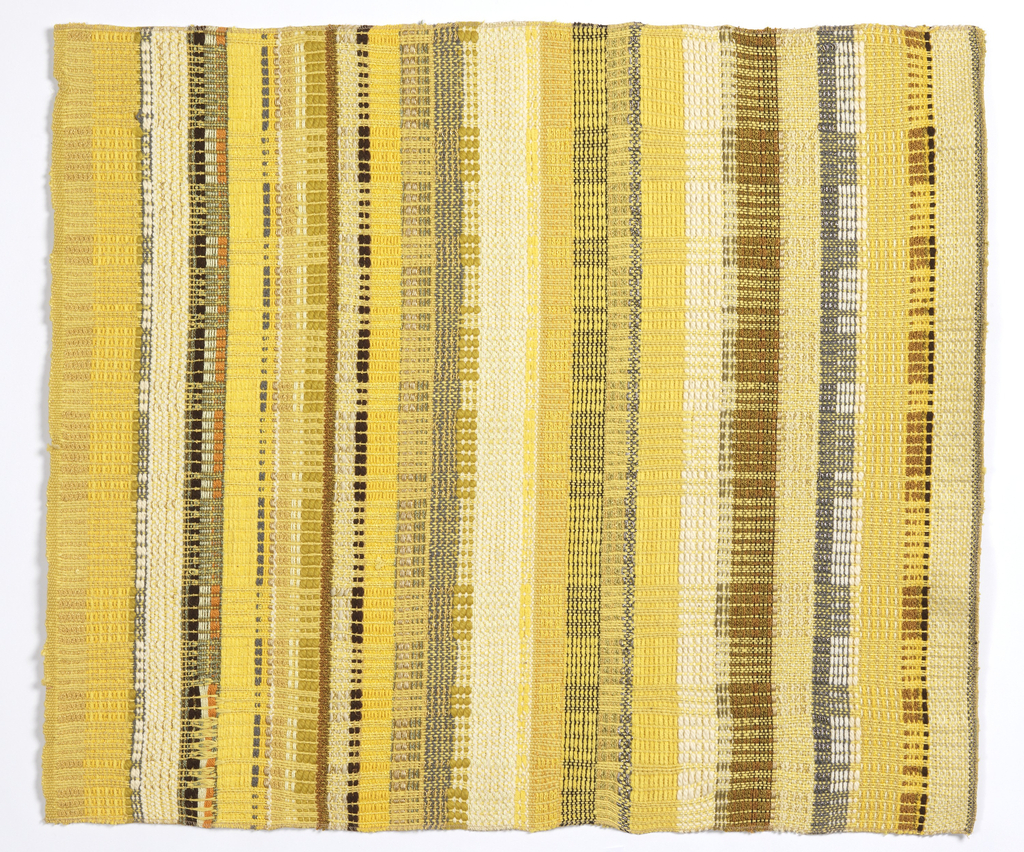 Length of woven fabric with an overall vertical stripe effect in brown, yellow and gray. The warp is composed of a variety of yarns in different weights and textures; the weft is yellow wool.