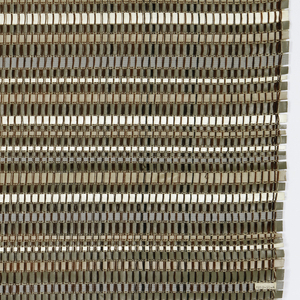 Warp is thin black cotton, weft is strips of mostly synthetic leather of various widths, the widest being about one-half inch, in white, olive, beige and gray. These are separated by a few picks of beige cotton. Backed with cotton cheese-cloth, applied with an adhesive.