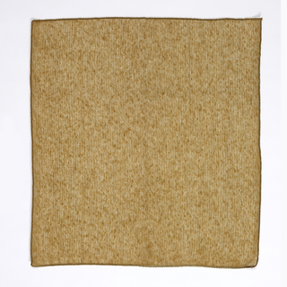 Sample of casement cloth woven of dark orange wool and gold metallic thread.
