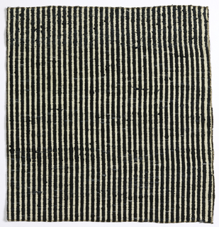 Black and white stripes, the white formed by the foundation fabric and the black by the floats of the supplementary wefts.