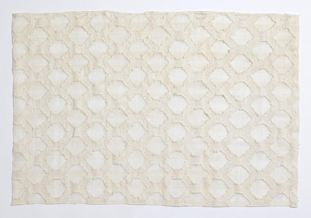 White on white transparent/ opaque pattern of a dense diamond grid enclosing open gauze areas