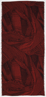 Length of woven cotton with a trompe l'oeil image of randomly arranged strips of crinkled fabric, in shades of red.