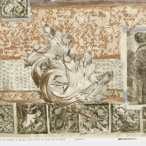 Length of printed cotton with a collage-like arrangement of architectural sketches, botanical drawings, acanthus leaves, penmanship studies, tiles and other patterns in gray, taupe, and pale orange/pink on an off-white ground.