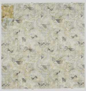 Length of printed cotton with architectural sketches in pale gray on a mottled cream ground.