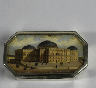 Metal box with painting of Capital, Washington, under glass on lid.