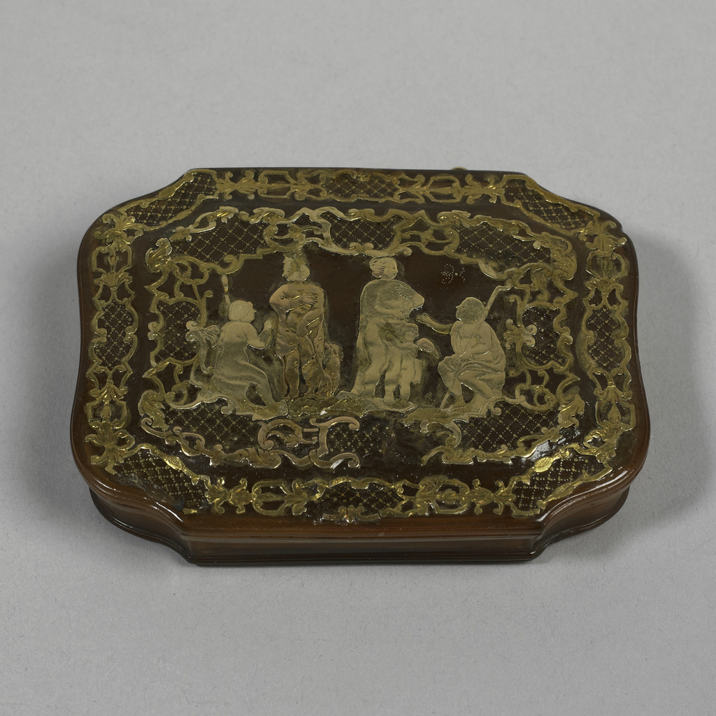 Irregularly octagonal, with hinged cover; blonde tortoiseshell, with molded edges and raised panel on cover; decorated in gold piqué work; on cover, within a double border of strapwork and scrolled cartouches filled with diaper pattern in piqué pint, figures of Diana with hound, Venus with Cupid and two seated figures with staffs, in piqué posé; on bottom , in same technique, Cupid beneath a tree, with bow and quiver, holding a heart, a mask at his feet; details of flowers, birds and insects in piqué point; above, traces of a scroll, probably originally with inscription.