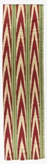 Chiné vertical stripes in red and white zigzag pattern alternating with green and two half-inch yellow stripes in fancy satin weave.