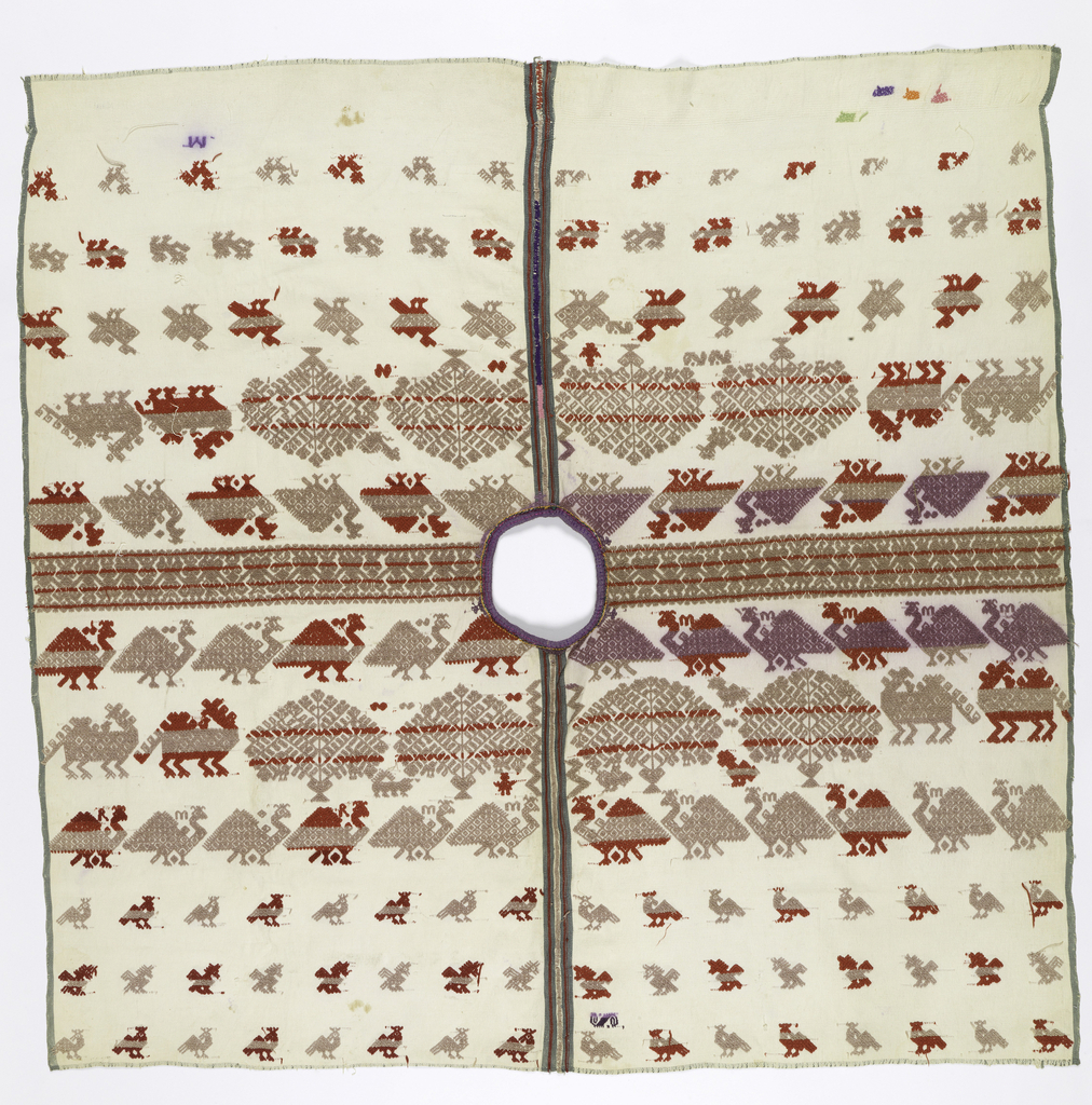 Undyed cotton cloth ground with triple warps and triple wefts. Deep shoulder decorations of rows of symmetrical trees and turkeys. Rows of smaller birds more widely spaced below. Central stripes up the front and back in red, blue, green from joined inner selvages. Blue-green selvages on opposite sides.