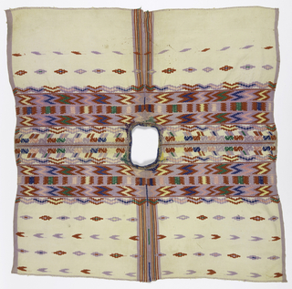 Undyed cotton huipil with triple warps and triple wefts. Group of narrow stripes up center front and back formed by joined inner selvages. Deep band of brocaded and embroidered decoration across shoulders. Bands of zigzags, serpentines, and S-shapes in bright red and soft purple with smaller areas of yellow, pink, blue and green. Broad purple selvage on outer edge. Widely spaced stripes of rosettes and diamonds.