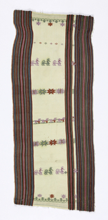 Narrow cloth with broad vertical borders comprised of narrow stripes in blues, greens, reds, purples and black. White central area patterned with small stylzed birds, animals and geometric forms. Selvages present.