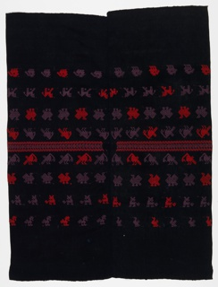 Two lengths stitched together down long sides to form a black huipil with rows of stylized birds and animals in purple and red. Shoulder bands have geometric stripes. Warp ends on top and bottom.
