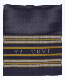 Dark blue sheer plain weave with double wefts, grouped white and yellow weft, stripes setting off band with lettering in white counted-darning stitch: Ya Te Vi. White pencil-banding on ground area at top of piece.