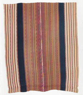 Textile panel in narrow stripes of varying widths in pink, green, yellow, brown and white, set off by wide band, also running vertically, in blue. Selvages present; two widths joined by thick center band.