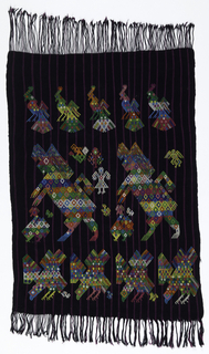 Man's head cloth in black with narrow purple stripes. Decorated with rows of multicolored zoomorphic animals such as peacocks, horses, and eagles. Warp fringe at both ends, one end plied and knotted.
