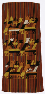 Pairs of mounting animals in orange, yellow, ivory, and black on red background with narrow stripes of black, ivory, and yellow. Made for tourist trade.