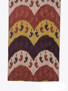 Narrow panel with scalloped bands of red, yellow, white and purple with small repeating botehs within each scallop.