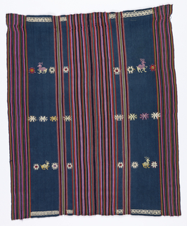 Shoulder cape made up of two complete textiles sewn together. Both are patterned by blue stripes and fine multi-colored stripes. Dark blue areas decorated with flowers and deer and have geometric patterning on either end. Four selvages.