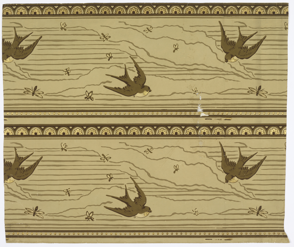 Two bands of same design, one above the other, intended to be cut apart and hung seperately. Simple bands of geometric ornament above and below, in each band, with counterposed swallows and insects between. Browns and gold on green-brown field.