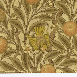 All-over pattern of orange boughs with fruit and blossoms, with perching birds. Printed in cream, brownish greens and tans, with metallic gold highlights. A full width, giving slightly more than two repeats.
