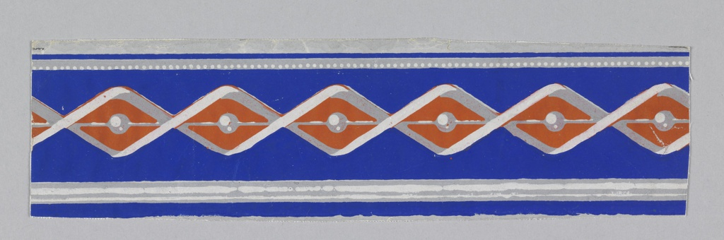 Baguette motif with vivid blue ground. Printed in red, greys and blue.