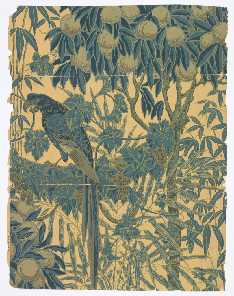 Macaw perched on a grapevine laden with grapes, grapevine entwined around peach tree branches and leaves. Clusters of peaches, palm tree bearing exotic fruit. Printed in light and dark olive, light and dark gray-blue, delft blue and navy blue on beige ground.