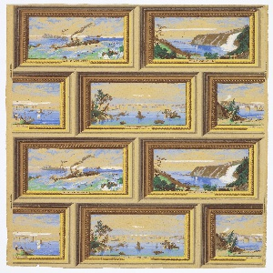 "Design of four scenes: ""La Chine Rapids, Canada"", ""The Thousand Isles"", ""Falls of Montmorency"", ""Victoria Bridge, Montreal"". Each scene is the same size and shown in a similar frame of gilt molding with beading. Printed in blue, yellow, green and brown."