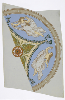 Half a ceiling piece, a semi-circle, is printed on a regular width of wallpaper. Presumably, two of these go to make up the complete centerpiece. Two classically-garbed females float against a blue ground. At center, a foliate star. Mounted on muslin.
