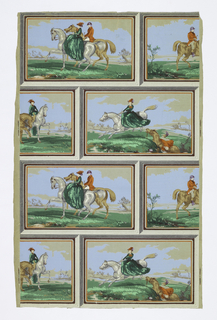 On an ungrounded, light-weight gray paper are printed picture frames (tromp l'oeil) in horizontal, alternating rows. Each frame contains horse-back riders in red, green, brown, gray and blue.