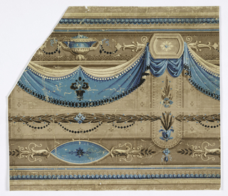 Frieze of drapery, urns, classic-revival architectural ornament. Beige ground divided into horizontal bandings by brown and blue molding, horizontal pointed elipses with floral and foliate ornamentation, and groupings of parallel lines and geometric shapes. Frieze dominated by draped swags, bright blue, above which are blue urns and which appear draped from small round-ended panels with flower centers. Panels top vertical banding of browns which interrupts horizontals of rest of the ground.
