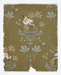 Chinoiserie design. a) features a white crane on a platform. Leaf clusters having the appearance of maple and oak and butterflies. Printed on a brown ground; b) contains 2 ornate bamboo frames, each with an Asian woman. In the alternating corners are white lilies and foliage. Printed on a deep burgundy ground.
