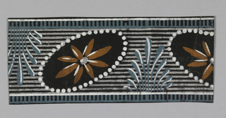Edging top and bottom of center band, a dentelle pattern. Center band contains oval medallions alternating (in the opposite diagonal placement) with stylized leaf clusters. The background is horzontally striped and the medallions contain daisy-like flowers with 8 petals.