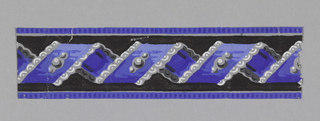 Blue twisted ribbon on black ground, with grey scalloping.