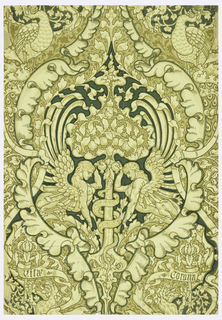 "Symmetrical design of confronting sphinxes under a tree of life bearing a serpent entwined around its trunk. All this within a cartouche defined by acanthus leaves. Above cartouche, on either side, two peacocks. Below cartouche, two banners: the left one reads ""Vita"", right banner reads: ""Corona""; printed in pale yellow, beige, light and dark olive, and greens."