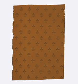 Diapered with fleur-de-lis, printed in orange, brown and mustard.