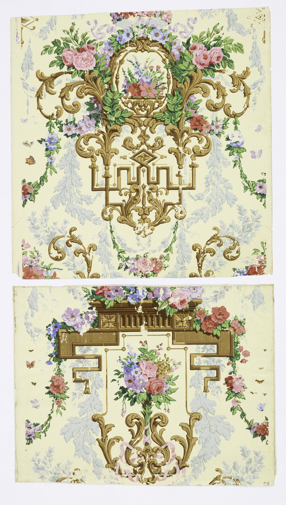 Two widths of paper with framework of acanthus scrolls in browns, and sprays and clusters of flowers and foliage in colors. Not complete repeats.  Printed in shades of periwinkle blue, pale aqua, lavenders, rose, pinks, greens, tan, brown, ochre.