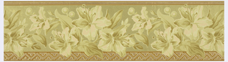 Large pink and tan flowers, possibly lillies, in a central band, printed over a metallic gold embossed ground. Narrow striped band along top edge, wider geometric band along bottom