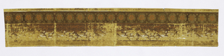 Motifs of cinquefoils, stylized daisy, floral and foliate. Printed in brown, tan, orange, olive and white on yellow ground.  H# 661
