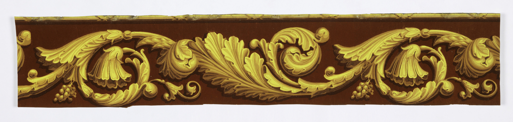 Large-scale acanthus rinceau. Rod runs along top edge. Printed in shades of ocher on red flock ground.  H#219