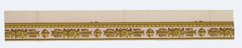 Ormolu or gilt bronze medallions. Larger motif alternates with a floral quatrefoil. Band of egg and dart along bottom edge. Narrow straight band along top edge. Printed in yellow ocher, brown and mauve on a pink ground.  H# 663