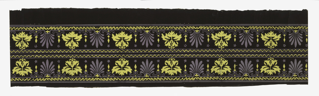 Wide central band of anthemia or palmette motif, alternating with a stylized floral motif. Band of chevron or herringbone along top edge. Band of wave scroll along bottom edge. Printed in lavender and yellow on black ground.