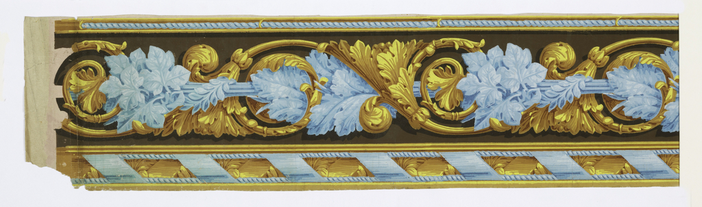 Central motif of blue foliage wrapped around a rod, alternating with acanthus scrolls. A blue cable motif runs along the top edge, while a wider ribbon and cable motif runs along the bottom edge. Printed in shades of blue, ocher and yellow on a brown background.