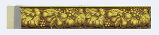 Wide central band of mixed fruit, including pear, peach, grapes and figs, on vine. A braided rope runs along top edge. Printed in shades of yellow ocher and brown on a gray ground. a) is the beginning of roll - no ground color at end.