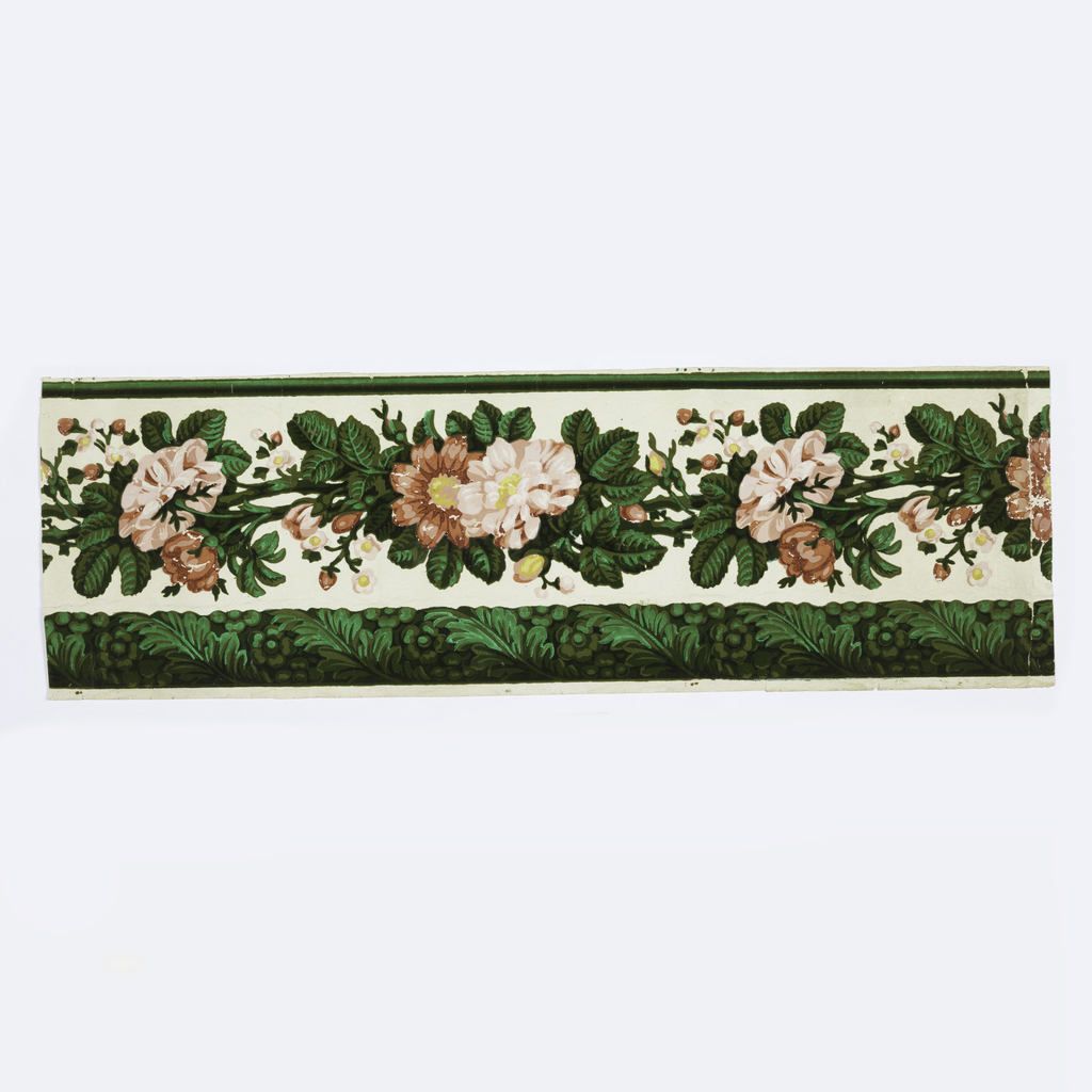 Wide central band of vining red and pink flowers and buds. Across the bottom edge is scrolling acanthus wrapped around a floral rod. Narrow green band along top edge. Printed in pink, red, green flock, shades of green, yellow and white on a white ground.