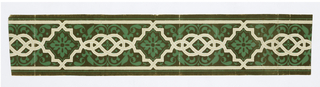 Design consists of an arabesque-like strapwork row of frames connected by pretzel shapes, and containing stylized floral motifs in and around the interlacing. Printed in peach, white, green with an olive flocked background.  H# 311