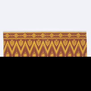 Imitation textile, drapery or passementerie border. Wide zig-zag or herringbone pattern with suspended anthemia and tassels. Narrow band of floral motifs across top edge.  Printed in ocher and rust-color.