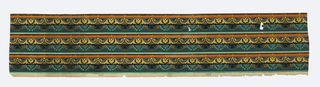 Narrow border. Central band containing scroll wave-like motif, below which hang bead swags and foliate swags. Printed in green, orange, ocher, gray and black. Printed three across.